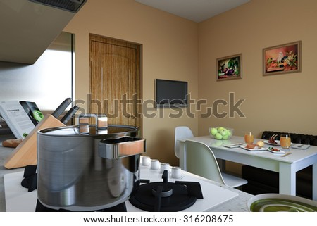 3D render of kitchen with beige and green facades