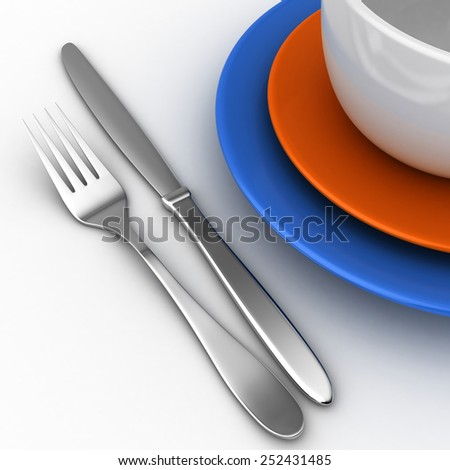 3d render of knife, fork and plates over white background - stock photo
