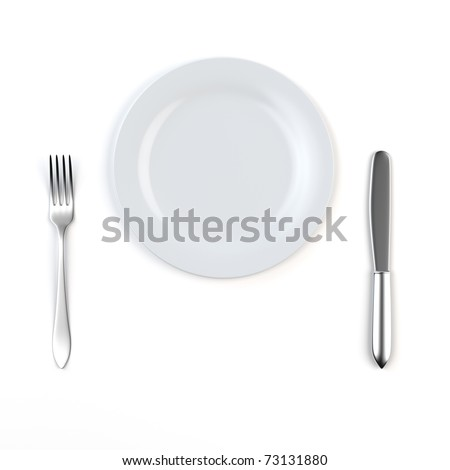 3d render of knife, white plate and fork - stock photo
