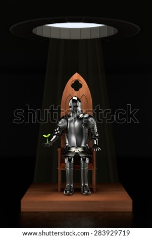 3d render of knight in dungeon