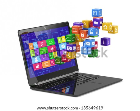 3d render of laptop media concept isolated - stock photo