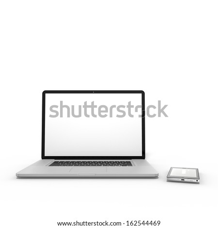3d render of laptop/notebook with smartphone, isolated on white background - stock photo