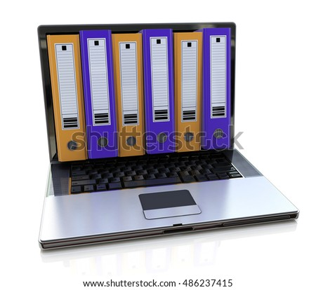 3d render of laptop with colored folders inside screen. Storage concept. 3d illustration