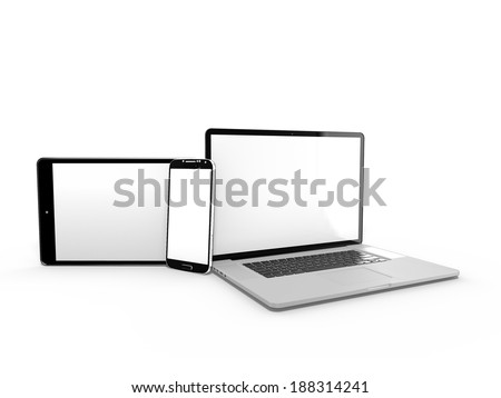 3d render of laptop with tablet and smartphone - stock photo