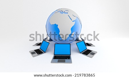 3D render of Laptops around globe on white background. Global network concept. - stock photo