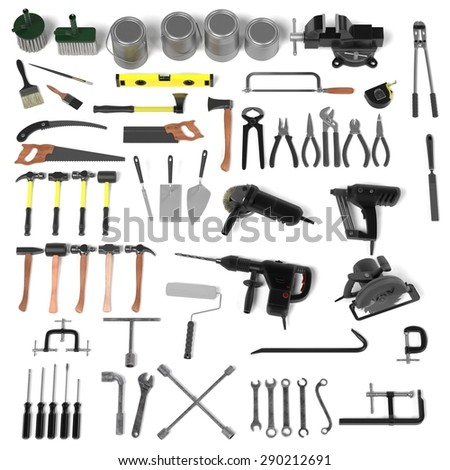 3d render of large colection of tools - stock photo