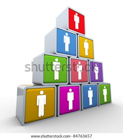 3d render of leadership and teamwork concept - stock photo