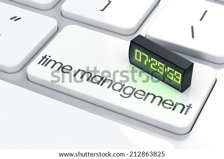 3d render of led display alarm clock on the keyboard. Time management concept.  - stock photo