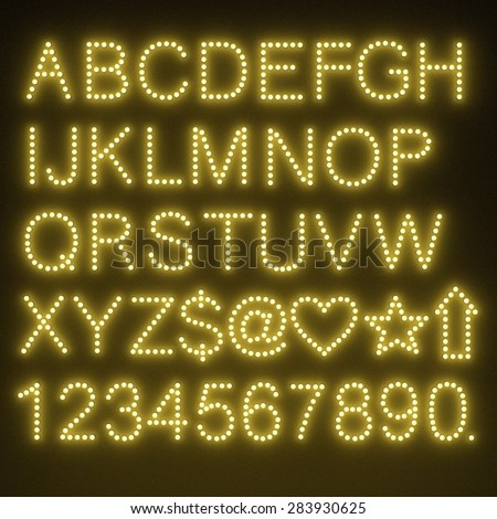 3d render of light bulb alphabet - stock photo