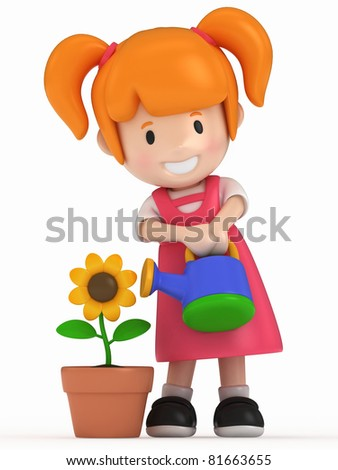 3D Render of Little Girl and Flower - stock photo