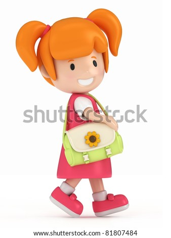 3D Render of Little Girl Walking - stock photo
