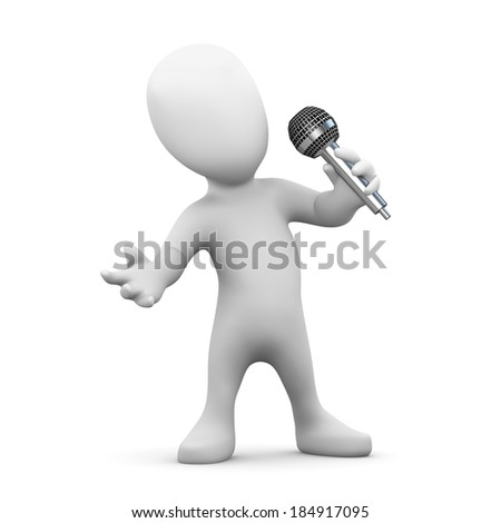 3d render of little person singing into a microphone