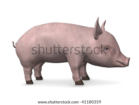 3d render of little pig