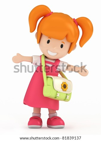 3D Render of Little School Girl - stock photo