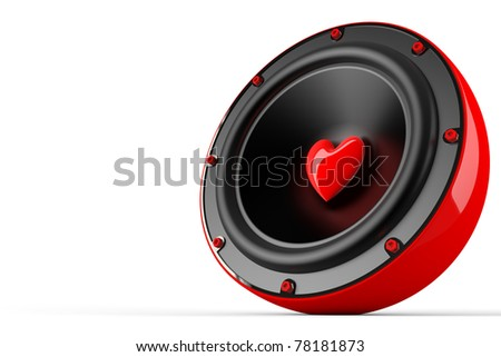 3d render of love speaker concept