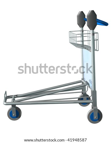 3d render of Luggage Trolley on the plain background