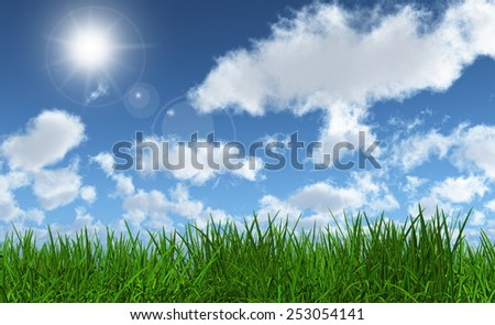 3D render of lush green grass with a sunny blue sky - stock photo
