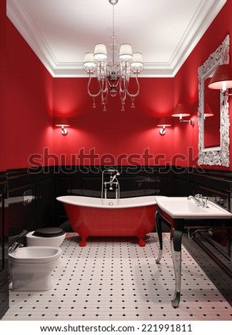 3d render of luxury bathroom in black and red color - stock photo
