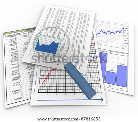 3d render of magnifying glass over financial papers - stock photo