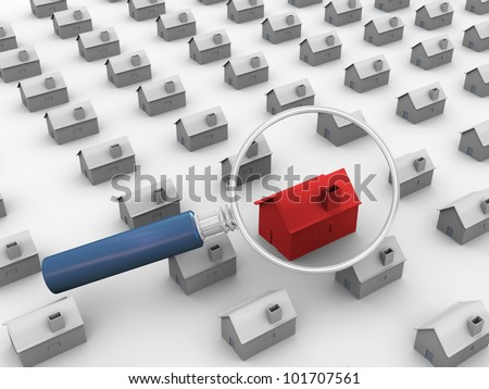 3d render of magnifying glass searching for unique house - stock photo