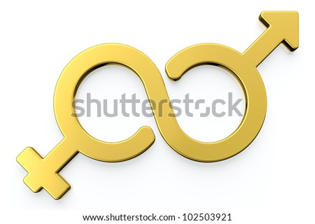 3d render of male and female gender symbols isolated on white background. - stock photo