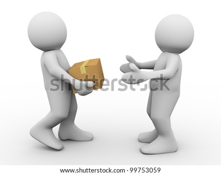 3d render of man delivering parcel. 3d illustration of human characters. - stock photo