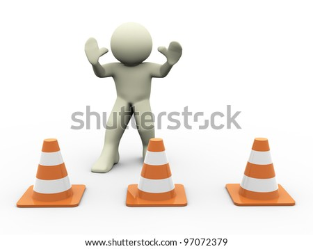 3d render of man in warning position standing behind traffic cones - stock photo