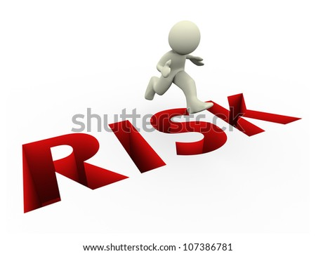 3d render of man jumping over risk text. 3d illustration of human character. - stock photo