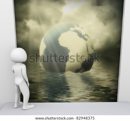 3d render of man looking at scene related to environmental pollution - stock photo