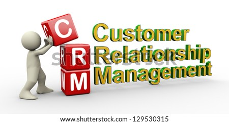 3d render of man placing crm ( customer relationship management ) cubes. - stock photo
