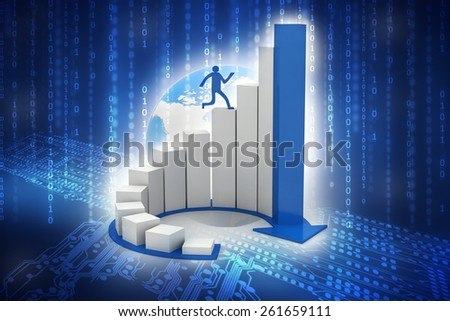 3d render of man running on circular progress bars. 3d illustration of human character - stock photo