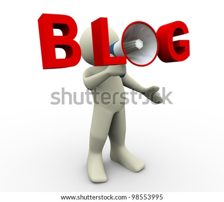 3d render of man with blog megaphone. 3d illustration of human character. - stock photo