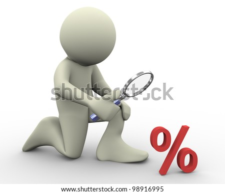 3d render of man with magnifying glass looking at percent sign. 3d illustration of human character.