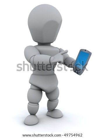 3D render of man with palm pilot - stock photo