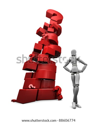 3D render of mannequin standing near a stack of red question marks. - stock photo