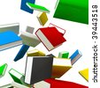 3d render of many hovering books on white background - stock photo