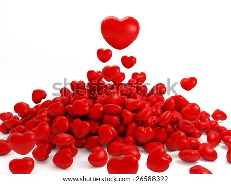 3d Render Of Many Isolated Red Heart - stock photo