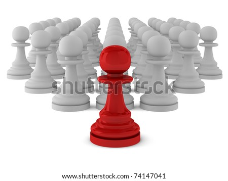 3d render of many pawns - stock photo