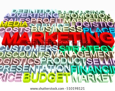 3d render of marketing related concept words