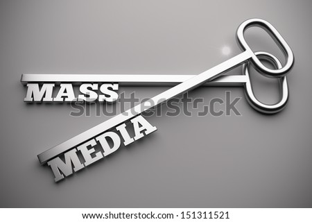 3d render of mass media concept with key - stock photo