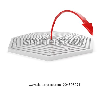 3d render of maze with red arrow isolated on white background. Solution concept - stock photo