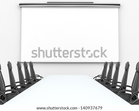 3D render of meeting room with projection screen and conference table - stock photo
