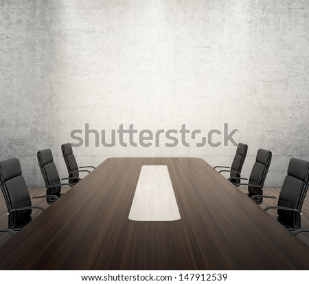3D render of meeting room with wooden table and black armchairs next to the wall with spotlights - stock photo