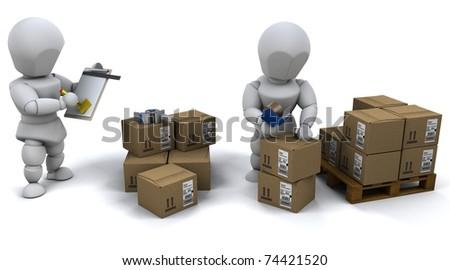 3D Render of men packing boxes for shipment - stock photo