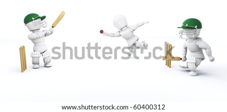 3d render of men playing cricket - stock photo
