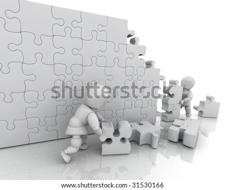 3D render of men solving a jigsaw puzzle