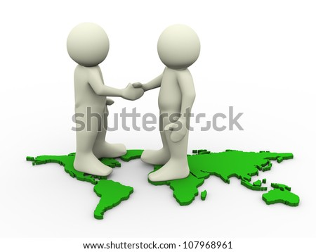 3d render of men standing on world map and shaking hand. 3d illustration of human character. - stock photo