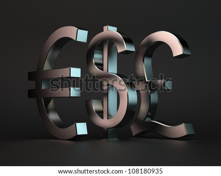 3d render of metal characters dollar, euro, pound over black background - stock photo