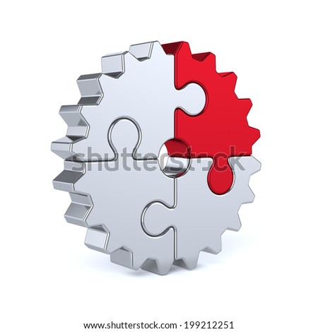 3d render of metal gear from puzzle pieces isolated on white background. Partnership and success concept - stock photo