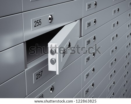 3d render of metal Open safety boxes. - stock photo